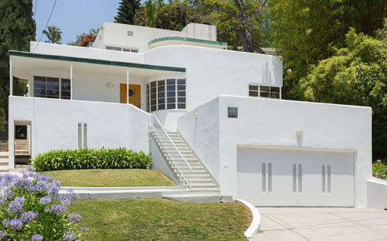 1930s Milton J. Black-designed streamline moderne property in Los Feliz, California, USA