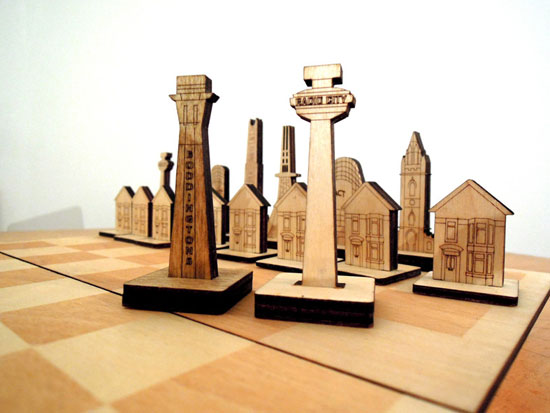 Liverpool versus Manchester architectural chess set by Caroline White