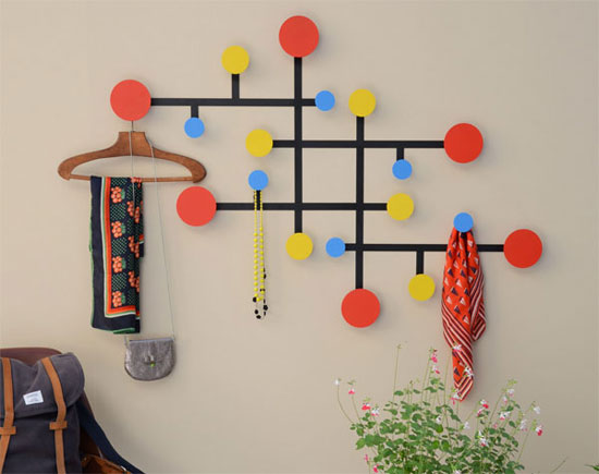 Mondrian-style Piet coat stand by Presse Citron