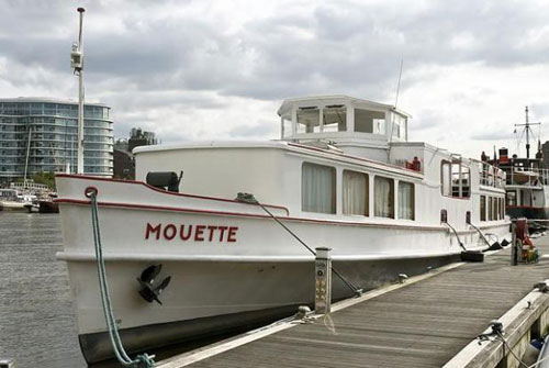 1930s art deco-style Mouette boat on Cadogan Pier, Chelsea, London SW3