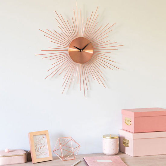 Midcentury interior: Nivala copper metal sunburst clock at Maisons Du Monde