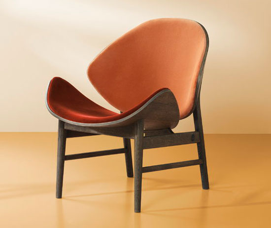 1950s Orange lounge chair by Hans Olsen reissued