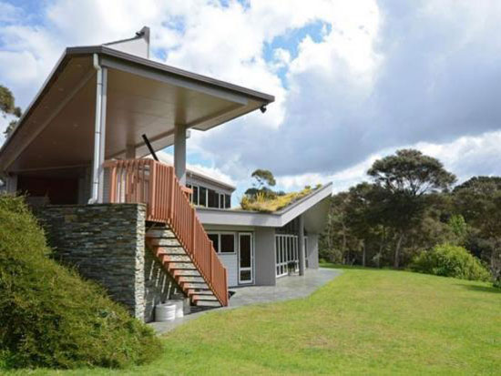 Midcentury-style four bedroom house in Haruru, Northland, New Zealand - with nuclear bunker