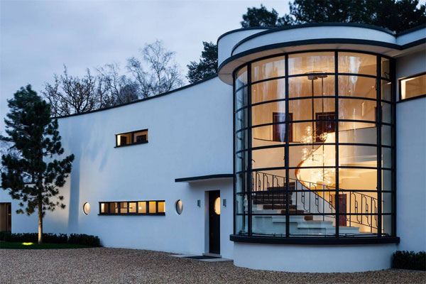 1930s Oliver Hill-designed Cherry Hill art deco property on the Wentworth Estate, Surrey