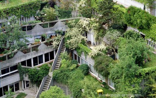 Apartment in the 1970s Jean Renaudie-designed brutalist development in Ivry sur Seine, near Paris, France