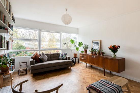 Two-bedroom apartment in the 1950s Eric Lyons-designed Parkleys Span development in Ham, Richmond, Surrey