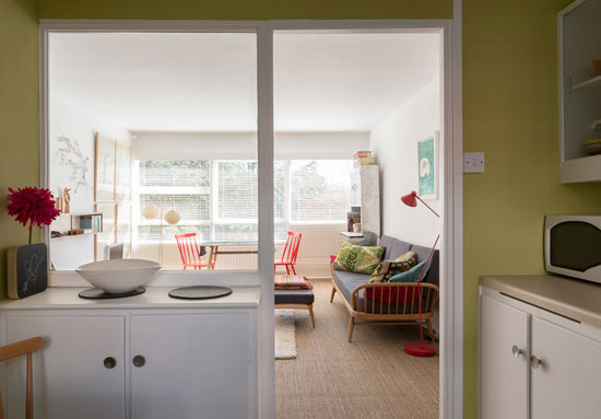 Two-bedroom apartment in the 1950s Eric Lyons-designed Parkleys development in Ham, Richmond, Surrey