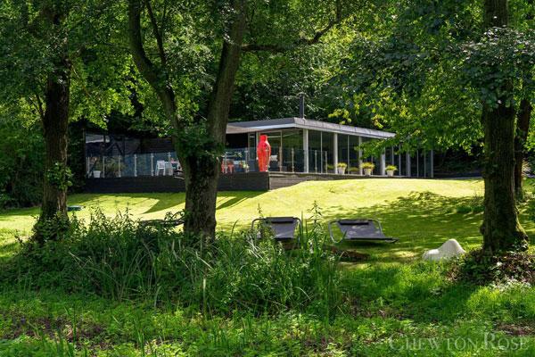 Glass box modernist house near Norwich, Norfolk