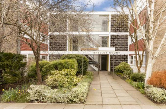 On the market: Two-bedroom apartment on the Eric Lyons-designed Span estate at Parkleys, Ham, Richmond, Surrey