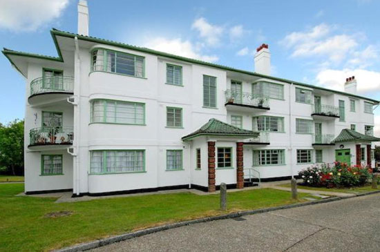 On the market: Two-bedroom apartment in the 1930s H J Mark-designed art deco Capel Gardens in Pinner, Middlesex