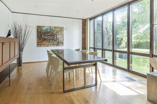 1970s Royston Summers lakeside modernist house in Esher, Surrey
