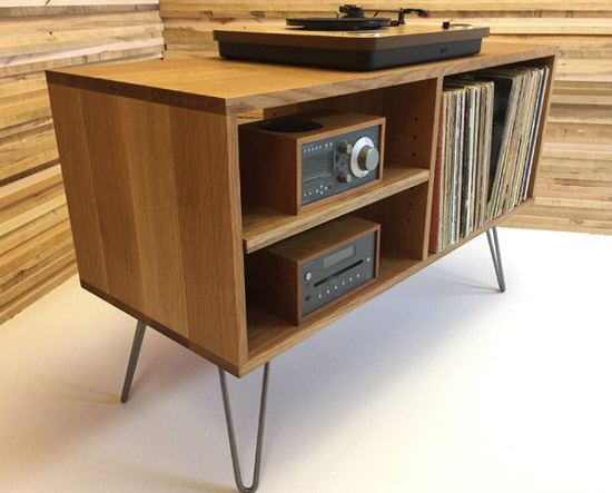 Midcentury modern vinyl storage units by Scott Cassin