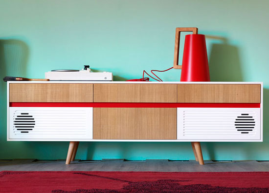 2. Miniforms midcentury-style Skap sideboards with built-in audio