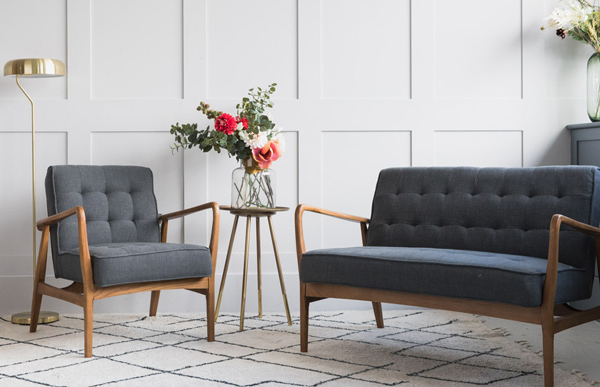 Mid Century Linen Sofa And Armchair At Rose U0026 Grey