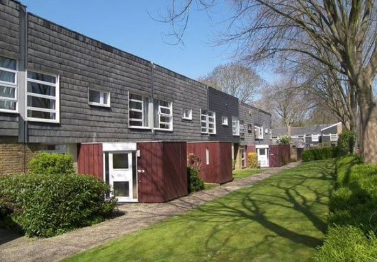1960s Eric Lyons-designed three-bedroom Span House in New Ash Green, Longfield, Kent