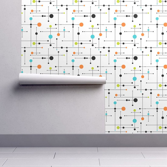 Vintage walls: Midcentury modern wallpaper by Spoonflower