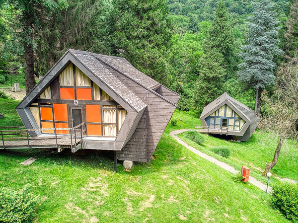 1960s midcentury modern holiday chalets in Ponte Cremenaga, Switzerland