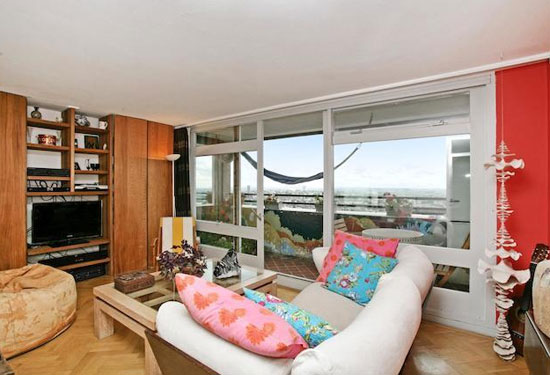 Split-level apartment in the grade II-listed Erno Goldfinger-designed Trellick Tower, London W10