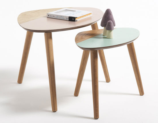 Midcentury interior: Clairoy two-tone tables at La Redoute
