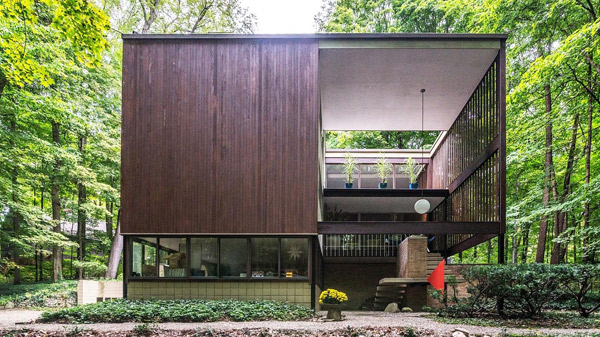 48. 1950s Tivadar Balogh midcentury modern house in Plymouth, Michigan, USA