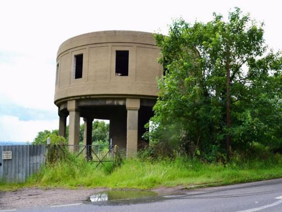 In need of renovation: 1930s former concrete water tower in Latchingdon, near Chelmsford, Essex