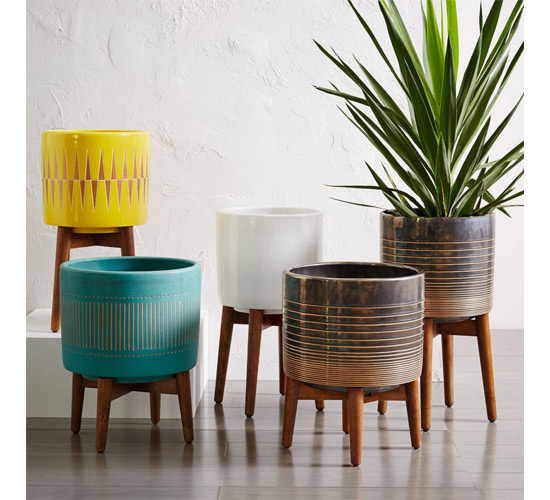 Mid-Century Turned Leg Planters at West Elm
