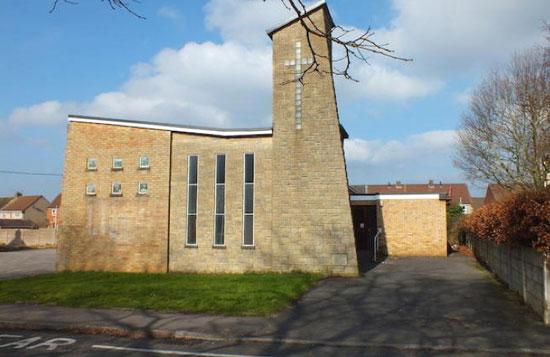 1970s modernist methodist church in Mangotsfield, Bristol, Avon