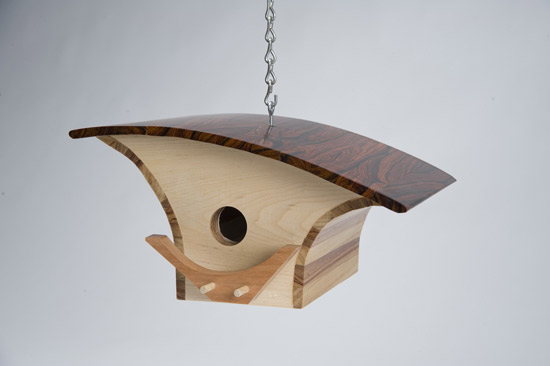 Midcentury-inspired bird houses by KoolBird at Etsy