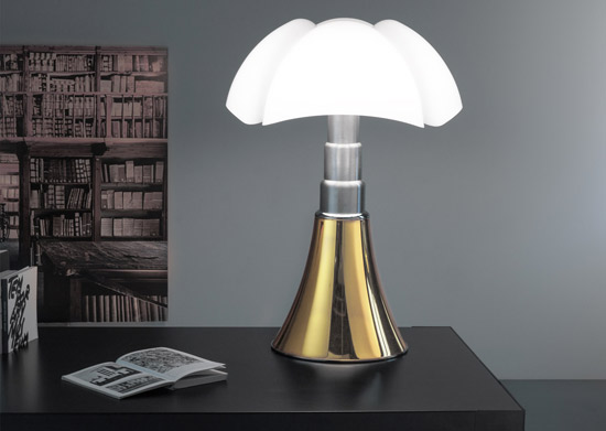 Gae Aulenti-designed Pipistrello lamp goes gold for its 50th birthday